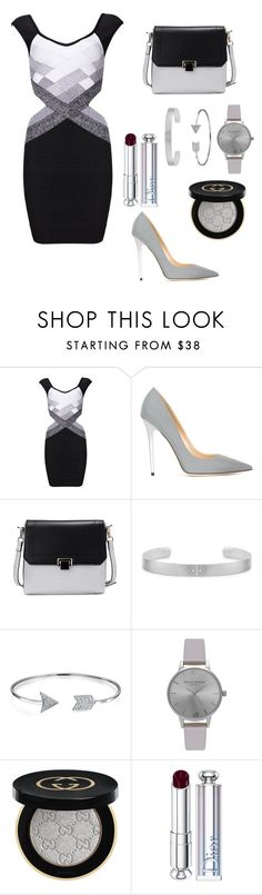 """""""Bodycon"""" by clairepardoo ❤ liked on Polyvore featuring Jimmy Choo, Bling Jewelry, Olivia Burton, Gucci and Christian Dior"""
