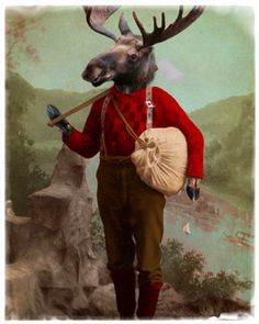 Moose Decor Art Print Lumberjack Canadian Canada by TheLonelyPixel