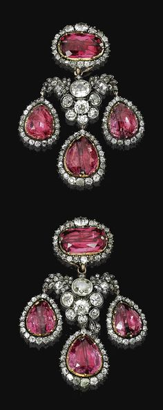 FINE PAIR OF SPINEL AND DIAMOND PENDENT EAR CLIPS, END OF 18TH CENTURY. Each of girandole design, set with pear-shaped and oval spinels in cut down collets, embellished with circular-, single-, French-, rose-cut and cushion-shaped diamonds, the surmount can be worn on its own and the two side pendants are removable.
