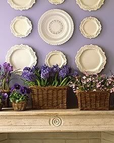 Making spring flower arrangements and creative table centerpieces with artificial and fresh spring flowers, baskets, glass vases and cards are excellent Mothers Day crafts for kids and adults Hanging Plates, Plates On Wall, Plate Wall, Purple Flowers, Spring Flowers, Iris Flowers, Spring Blooms, Exotic Flowers, Flowers Garden