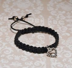 Shamballa Friendship Bracelet Heart Charm & Black Nylon Cord Handmade | eBay