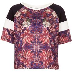 TOPSHOP Spliced Folk Tee ($34) ❤ liked on Polyvore featuring tops, t-shirts, shirts, crop tops, topshop, red, polyester t shirts, purple crop top, pattern t shirt and red crop top
