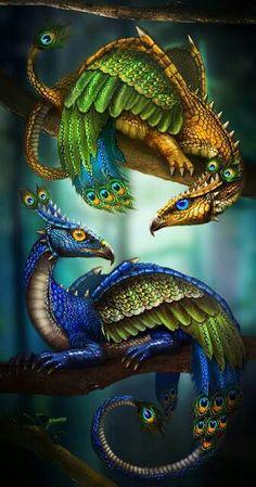 Peacock Dragons by LunaSea3D http://lunasea3d.deviantart.com/art/Peacockdragonvf1-339568281