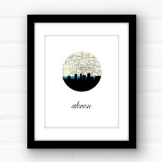 Akron Ohio map art  Akron map art  Akron by PaperFinchDesign