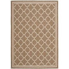 This rug is easy to care for and is weather-, mold-, and mildew-resistant, making it ideal for use outdoors or in a pool or hot tub setting. The brown and ivory colors of this neutral outdoor rug make it easy to match with a variety of decor.