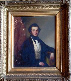 "Antique 19th century oil portrait on tin. 10""w x 11""h"