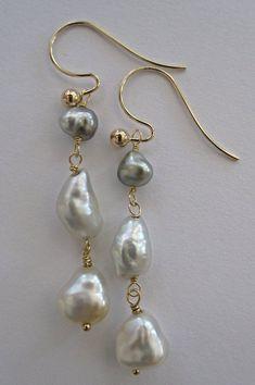 Kidney Wire dangle drop earrings 12mm Pearls Grey Statement Pearls Large Pink Pearl Silver Earrings Big Glass Pearl
