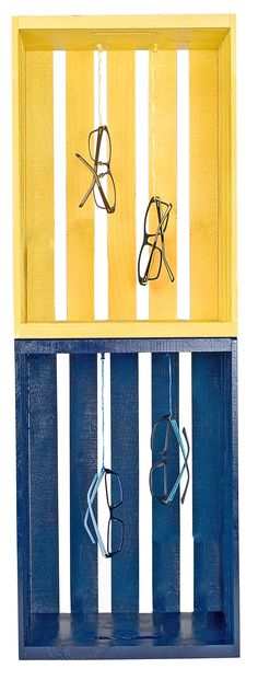 Stagger multiple wooden crates on a wall or display only one. Color stories (yellows, blues, reds, etc.) create the biggest visual impact. #styleyourcrocseyewear #crocseyewear