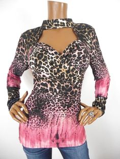 0f90f672121 VENUS Womens Top L SEXY Animal Shirt Stretch Low Cut Wrap Pink Brown Blk  Long Sl  Venus  Blouse  CasualDressy