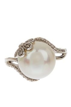 Sterling Silver 12-12.5mm Freshwater Pearl & Diamond Flower Ring