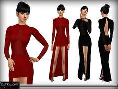 The Sims Resource: High-Low Velvet Dress by DarkNighTt • Sims 4 Downloads
