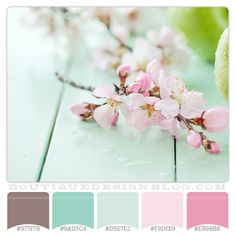Color Combination - aqua & pink. (The lighter pink & the darker aqua) The brown would be perfect for cherry blossom stems on the wall.
