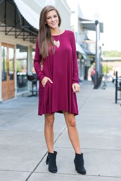 """""""Wine And Dine Dress, Burgundy""""You're going to look like a dime in this pretty shade of plum! The long-sleeve dress is right on trend for fall and oh-so easy to wear.  #shopthemint #newarrivals"""