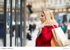Beautiful young woman in red coat window shopping in historical red womans coat - Woman Coats Fashion Updates, Shopping Center, Window Shopping, Young Women, Coats For Women, Windows, Woman, Tips, Red