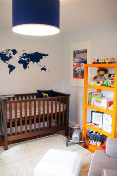 Love the map on the wall. Want to do this for Norah and add a small yellow airplane the she can move around the map.
