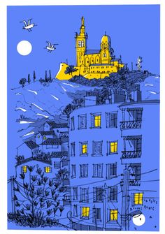 Urban Mapping, Marseille France, Picture Story, Urban Sketchers, Vintage Travel Posters, Nocturne, Color Theory, Wall Collage, Amazing Art