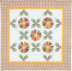 MISS KYRA: Dresden Plate Lap Quilt Pattern Designed by ERIN RUSSEK Classic Dresden Plate quilt blocks plus sweet applique make this lap quilt/table quilt/wall quilt pattern irresistably feminine. The Miss Kyra quilt pattern includes step by step photos for using the Easy Dresden™ Quilt Tool and completing the entire block - so helpful! Pattern in The Best of McCall's Quilting - Summer 2016