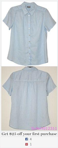 J. Jill Light Blue Blouse Shirt Blue Linen Short Sleeve Solid Jjill Tunic Medium Button Down Shirt