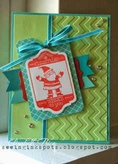 Seeing Ink Spots, Christmas Card with fun colors, Elizabeth Price, Stampin Up, Tag it Stamp set