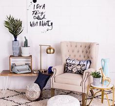 """Such a fun #MrKateDecorates video! @bromco and I each painted an easy #DIY piece of art and then decorated a room around them! I used my """"I do a thing called what I want"""" text painting to inspire a relaxed space with eclectic accessories and pops of blues. Check out how we pulled this look together and you don't want to miss David's hot dog art! Watch the video on YouTube.com/mrkate and mrkate.com! Link in bio #mrkate #whynot"""