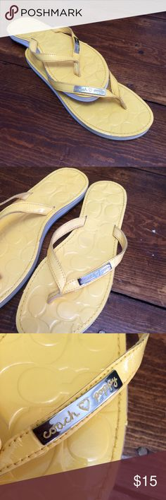 Selling this Yellow flip flops by Coach on Poshmark! My username is: lmd418. #shopmycloset #poshmark #fashion #shopping #style #forsale #Coach #Shoes
