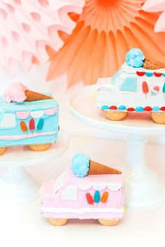 Gingerbread Ice Cream Trucks/party cakes for kid parties/individual cake ideas/summer party desserts/ Summer Ice Cream, Ice Cream Party, Graham, Ice Cream Birthday Cake, Store Bought Frosting, Cakes Plus, Ice Cream Social, Sour Candy, Pretty Cakes