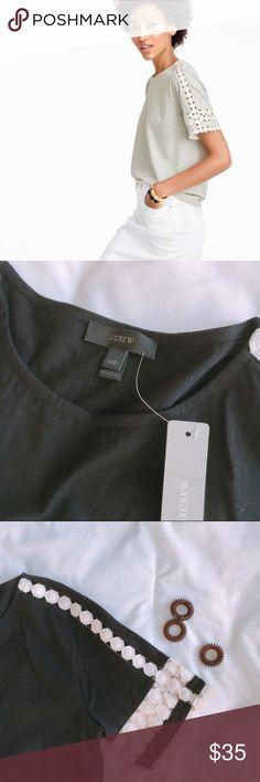 "Lace Detail Top, black + measurements 23"" approx long 15"" armpit to armpit  + composition 100% cotton   + condition  New, with tags. Retail.   photo credit | 1st photo | jcrew.com J. Crew Tops Blouses"