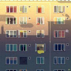 Somewhere else by Romain Trystram (via Illustration Served) Vector Design, Vector Art, Design Art, Graphic Design, Cup Design, City Illustration, Digital Illustration, Illustration Styles, Art Postal