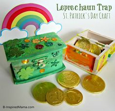 Have you ever caught a pesky leprechaun? Well, this years the year! Use this fun St. Patrick craft to make a Leprechaun Trap Box from B-InspiredMama.com.