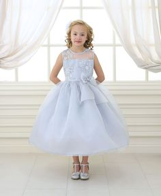 ccb7f1bb268 Girls Long Lace Bodice Dress with Bow by Calla KD2461