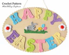 Crochet letters Happy Easter banner Wall plaque Crochet bunny embellishment Home decor Easter craft PDF tutorial Easter Crochet, Crochet Bunny, Glue Crafts, Crafts To Sell, Crochet Letters, Crochet Alphabet, Happy Easter Banner, Wall Ornaments, Easter Crafts