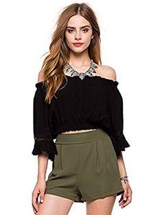 564490f5c0ff2 MIXMAX Women s Half Sleeve Off Shoulder Ruffle Boho Crop Blouse Top (Medium)