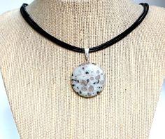 Natural Gemstone Sesame Jasper Round Pendant Healing Protection Necklace  USA #Handmade #PendantNecklace
