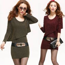 Autumn Winter Casual Womens Long Sleeve Sequin Gold Red Sweater Dress , Plus Size Women Fashion Mini Sexy Knitted Belt Dresses(China (Mainland))