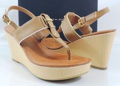 Women's Tommy Hilfiger MAREE Platform Wedge Thong Sandals Natural Multi Size 8 #TommyHilfiger #TStrap