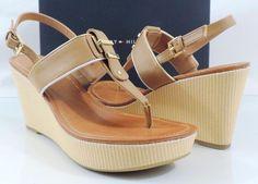 Women's Tommy Hilfiger MAREE Platform Wedge Thong Sandals Natural Multi Size 8 #TommyHilfiger #TStrap