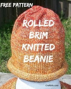 This knitted rolled brim hat is the perfect charity knitting pattern for cancer or chemo patients.