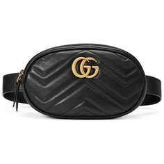 Gucci Gg Marmont Matelassé Leather Belt Bag ($1,050) ❤ liked on Polyvore featuring bags, black, genuine leather belt, leather belt, leather fanny pack, belt bag and zip top bag Check out our Collection of Belts...