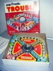 Trouble is a board game in which players compete to be the first to send four pieces all the way around a board. Pieces are moved according to the roll of a die. Trouble was developed by the Kohner Brothers and initially manufactured by Irwin Toy Ltd., later by Milton Bradley (now part of Hasbro). The game was launched in the United States in 1965. It is very similar to the much older game, Mensch ärgere dich nicht as well as another Hasbro game, Sorry! (originally marketed by Parker…