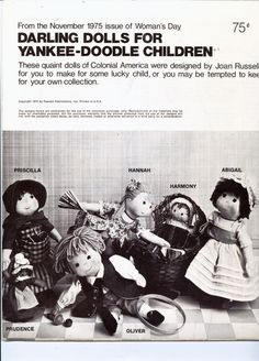 DARLING DOLLS FOR YANKEE-DOODLE CHILDREN Pattern Women's Day 1975 - New Vintage Studio