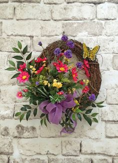 Butterfly Summer Wreath, Silk Floral Wreath, Front Door Wreath, Grapevine Wreath, Outdoor Wreath, Butterfly Wreath, Yellow, Pink, Purple, Wreath for Door, by Adorabella Wreaths on Etsy!