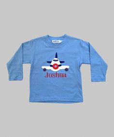 Look at this #zulilyfind! Blue Airplane Personalized Tee - Toddler & Boys by Orient Expressed #zulilyfinds