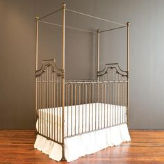Pewter Wrought Iron Crib W Matching Changing Table Too