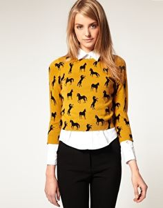 Horse print sweater and black jeans