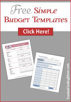 Free Simple Budget Templates - Easy to use templates to get your finances organized.