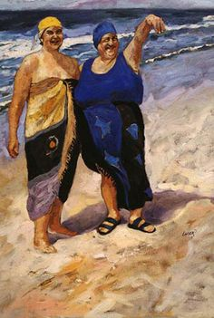 Fat Ladies on the Beach - Original Artwork by Beth Carver