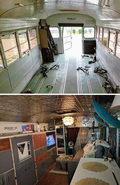 """16 Before-And-After Home Makeover Photos That Will Make You Say """"Wow"""" - Bus Conversion - Yorgo School Bus Camper, School Bus House, Trailers, Converted Vans, School Bus Conversion, Bus Life, Bus Travel, Remodeled Campers, Room Pictures"""