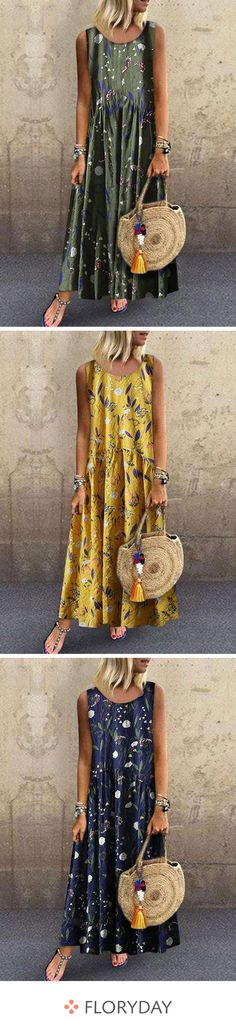 Sleeveless maxi shift dress with floral pattern - Floryday Ärmelloses Maxi-Etuikleid mit Blumenmuster A spring dress that you can not resist. Dresses For Teens, Simple Dresses, Casual Dresses, Fashion Dresses, Summer Dresses, Mini Dresses, Short Dresses, Women's Dresses, Look Boho