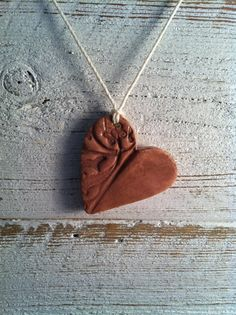 Mauve Ceramic Pendant Heart Necklace Summer by southerngracie, $20.00
