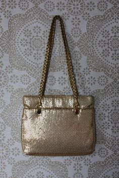 Vintage Gold Purse with Gold Mesh Metal Accents